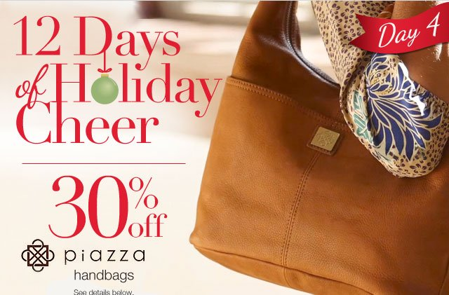 12 Days of Holiday Cheer: 30% off Piazza Handbags