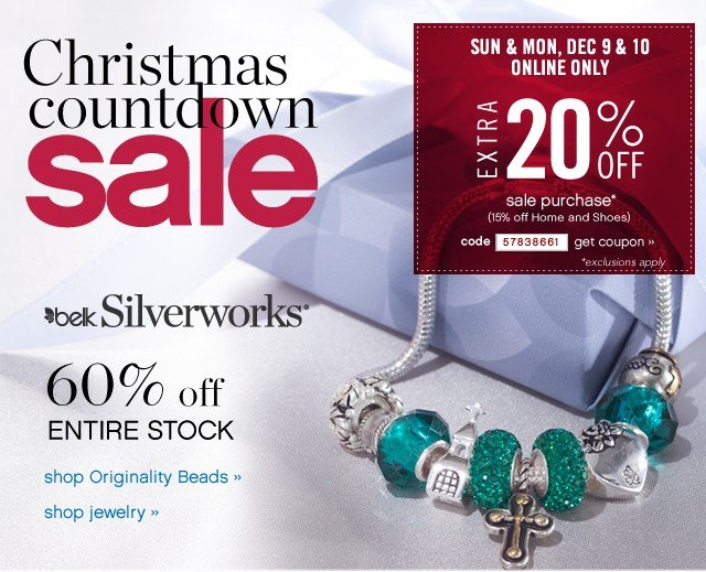 Christmas Coundtown Sale. 60% off Entire Stock Belk Silverworks. Shop now.