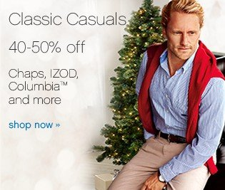 Classic Casuals. 40-50% off Chaps, Izod, Columbia™ and more. Shop now.