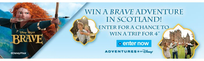 Win a brave adventure in Scotland!  Enter for a chance to win a trip for 4