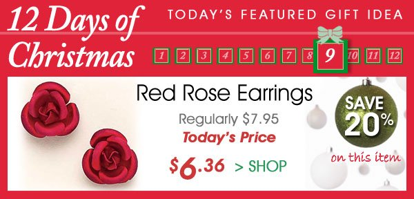 Today Only! Save 20% on Red Rose Earrings Only $6.36