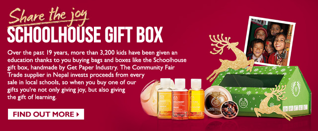 Share the joy-- SCHOOLHOUSE GIFT BOX -- Over the past 19 years, more than 3,200 kids have been given an education thanks to you buying bags and boxes like the Schoolhouse gift box, handmade by Get Paper Industry. The Community Fair Trade supplier in Nepal invests proceeds from every sale in local schools, so when you buy one of our gifts you're not only giving joy, but also giving the gift of learning.