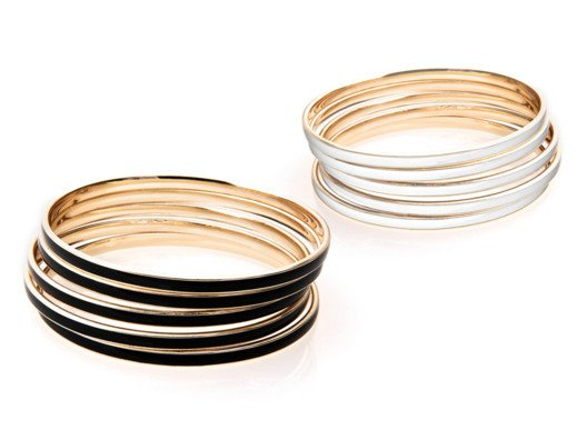 I really love these skinny bangles--you can pile them on all at once to make a statement or just wear one or two at a time for a softer look.