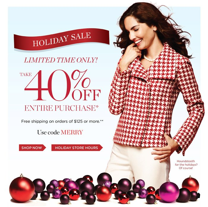 Holiday Sale Limited Time Only! Take 40% off entire purchase. Free shipping on orders of $125 or more. Use code MERRY.