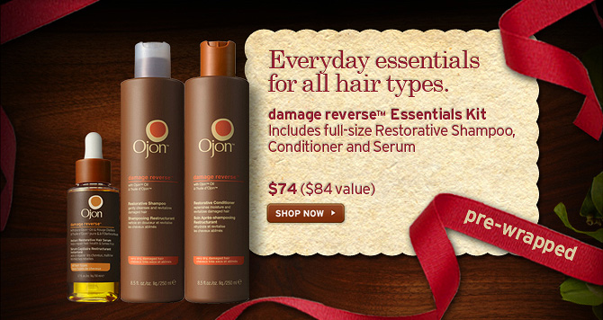 Everyday essentials for all hair types damage reverse Essentials  Kit Includes full size Restorative Shampoo Conditioner and Serum 74  dollars a 84 dollars value SHOP NOW pre wrapped