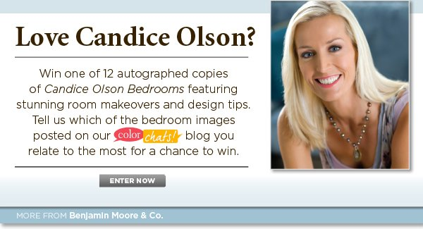 Win one of 12 autographed copies of Candice Olson Bedrooms! Click here to enter now.
