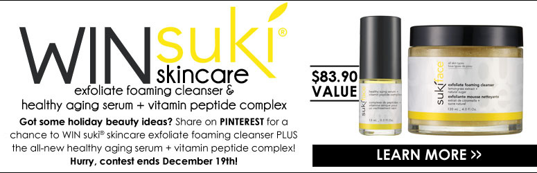 Win Suki Foaming Cleanser and Anti-Aging Serum! Got some holiday beauty ideas? Share them with us on Pinterest for a chance to win Suki Exfoliate Foaming Cleanser PLUS the all-new Healthy Aging Serum + Vitamin Peptide Complex ($83.90 value)! Hurry, contest ends December 19th! *Contest is for US residents only. LEARN MORE>>