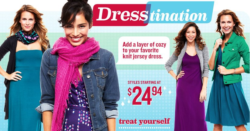 Dresstination | Add a layer of cozy to your favorite knit jersey dress. | STYLES STARTING AT $24.94 | treat yourself