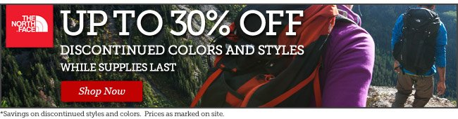 Up to 30% off discontinued colors and styles | While supplies last | Shop Now