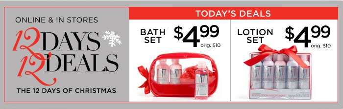 12 Days, 12 Deals: $4.99 Bath Set, $4.99 Lotion set