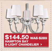 $144.50 WAS $289 HAMPTON BAY 5-LIGHT CHANDELIER