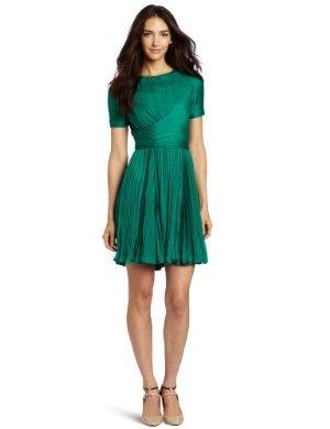 Halston Heritage  <br/>Crewneck Pleated Dress