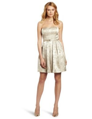 Eliza J <br/> Strapless Belted Dress With Pleated Skirt