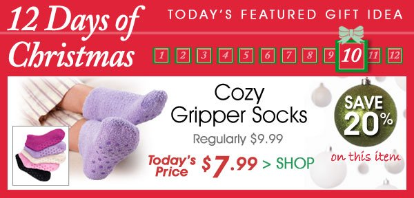 Today Only! Save 20% on Cozy Gripper Socks Only $7.99