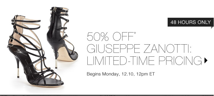 50% Off* Giuseppe Zanotti...Shop Now