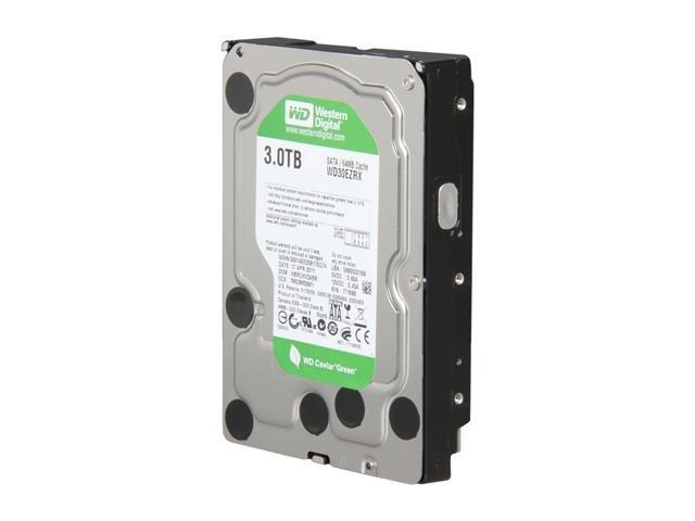 Western Digital WD Green WD30EZRX 3TB IntelliPower 64MB Cache SATA 6.0Gb/s 3.5 inch Internal Hard Drive - Bare Drive