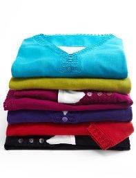 Black,Dark Lime,Dark Turq,Purple 3-Button Sweater Duet