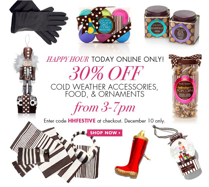 30% Off Cold Weather, Food, and Ornaments