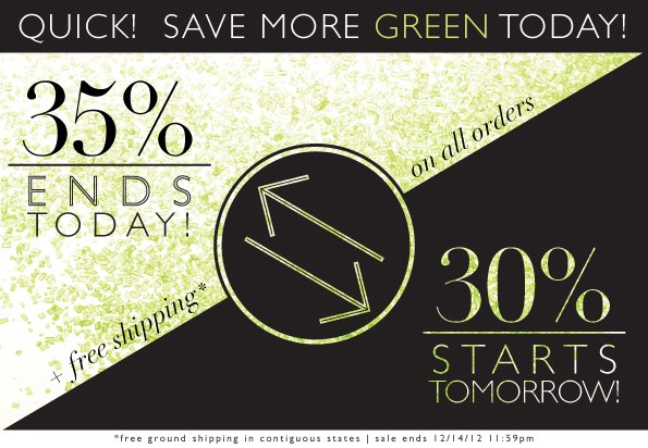 35% Ends Today | 30% Starts Tomorrow