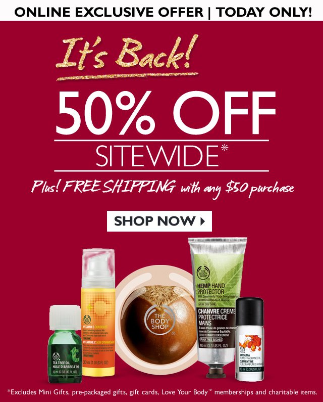 ONLINE EXCLUSIVE OFFER | TODAY ONLY! -- It's Back! -- 50% OFF SITEWIDE Plus! FREE SHIPPING with any $50 purchase