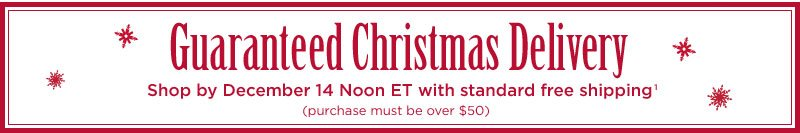 Guaranteed Christmas Delivery - Shop by December 14 Noon ET with standard free shipping(1) (purchase must be over $50)