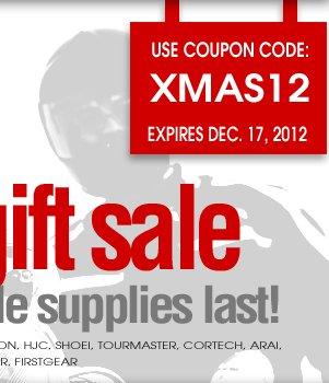 Use Coupon Code: XMAS12 - expires Monday December 17, 2012