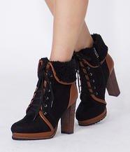 Fleece-Trim Lace-Up Boots