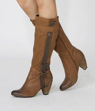 Faux Leather Trim Boots
