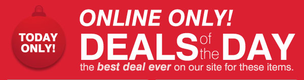 ONLINE ONLY! DEALS of the DAY the best deal ever on our site for these items. TODAY ONLY!