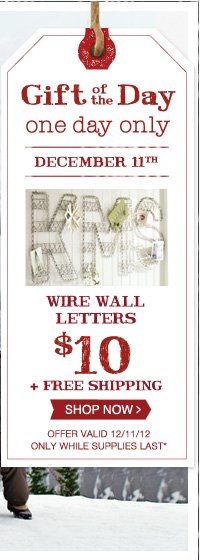Gift of the Day - one day only - DECEMBER 11TH - WIRE WALL LETTERS $10 + FREE SHIPPING - SHOP NOW - OFFER VALID 12/11/12 ONLY WHILE SUPPLIES LAST*