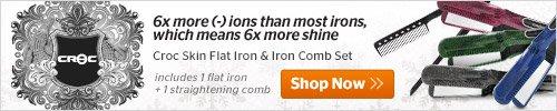 Croc Skin Flat Iron and Iron Comb Set