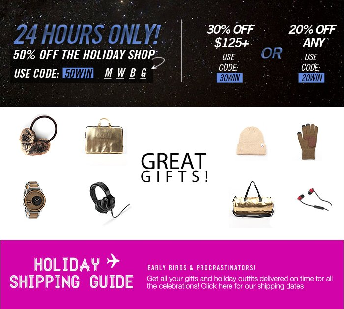 DrJays.com Take 50% Off The Holiday Shop With Promo Code.