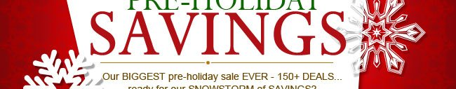 Our BIGGEST pre-holiday sale EVER - 150+ DEALS...ready for our SNOWSTORM of SAVINGS?