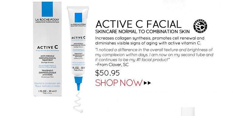 "Shopper's Choice Active C Facial Skincare Normal to Combination Skin Increases collagen synthesis, promotes cell renewal and diminishes visible signs of aging with active vitamin C. ""I noticed a difference in the overall texture and brightness of my complexion within days. I am now on my second tube and it continues to be my #1 facial product."" –From Clover, SC  $50.95 Shop Now>>"