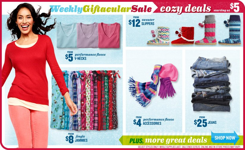 WeeklyGiftacularSale | cozy deals starting at $5 | PLUS, more great deals | SHOP NOW
