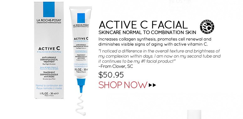 """Shopper's Choice Active C Facial Skincare Normal to Combination Skin Increases collagen synthesis, promotes cell renewal and diminishes visible signs of aging with active vitamin C. """"I noticed a difference in the overall texture and brightness of my complexion within days. I am now on my second tube and it continues to be my #1 facial product."""" –From Clover, SC  $50.95 Shop Now>>"""