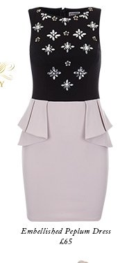 Embellished peplum dress
