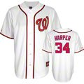 Bryce Harper Jersey: Adult Majestic Home White Replica #34 Washington Nationals Jersey