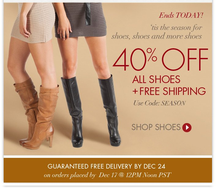 Last Day! 40% OFF Shoes + FREE SHIPPING