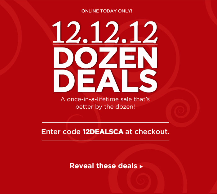 12.12.12: Once In A Lifetime Deals!