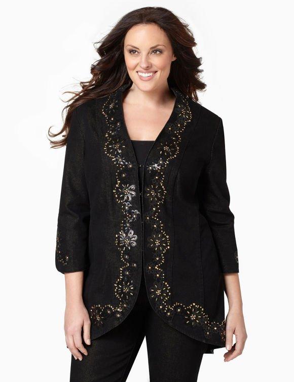 Black Multi Glitter Denim Jacket