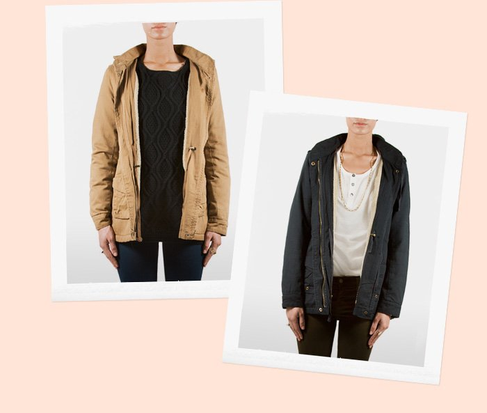 Our new have-to-have utility jacket in navy and camel.