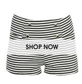 Striped Button Ponte Short