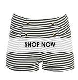 Striped Button Ponte Short