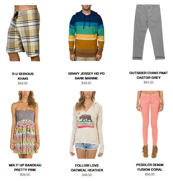 Featured products at Billabong.com