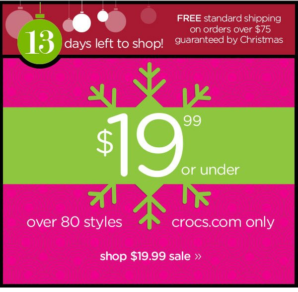 $19.99 or under over 80 styles - crocs.com only - shop $19.99 sale