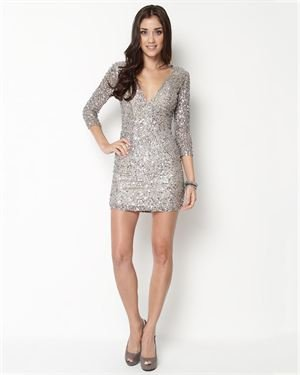 Shail K. V-Neck 3/4 Sleeve Sequin Dress