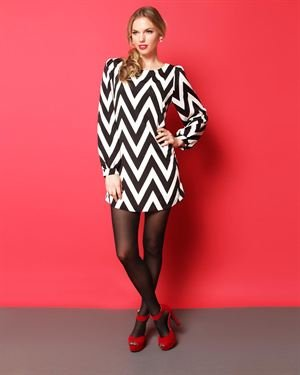 Everly Long Sleeve Chevron Dress