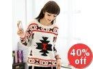Printed Furry Sweater