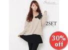 Set: Rosette-Appliqué Knit Top + Inset A-Line Skirt Leggings